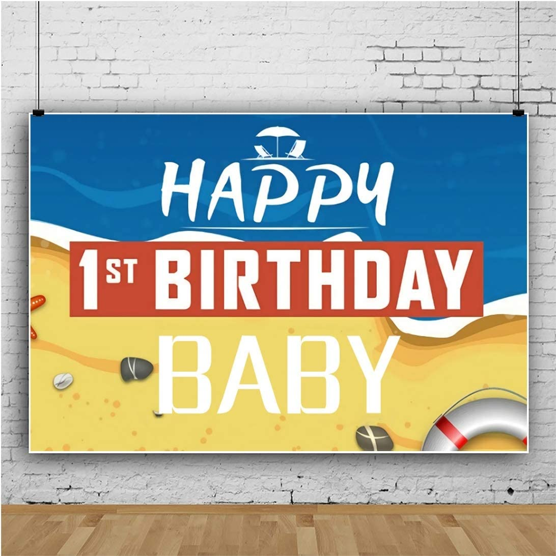 Yeele Baby 1st Birthday Backdrop 10x8ft Sea Beach Theme Marine Life Photography Background One Year Prince Birthday Party Banner Artistic Portrait 1st Cake Smash Photo Booth Props