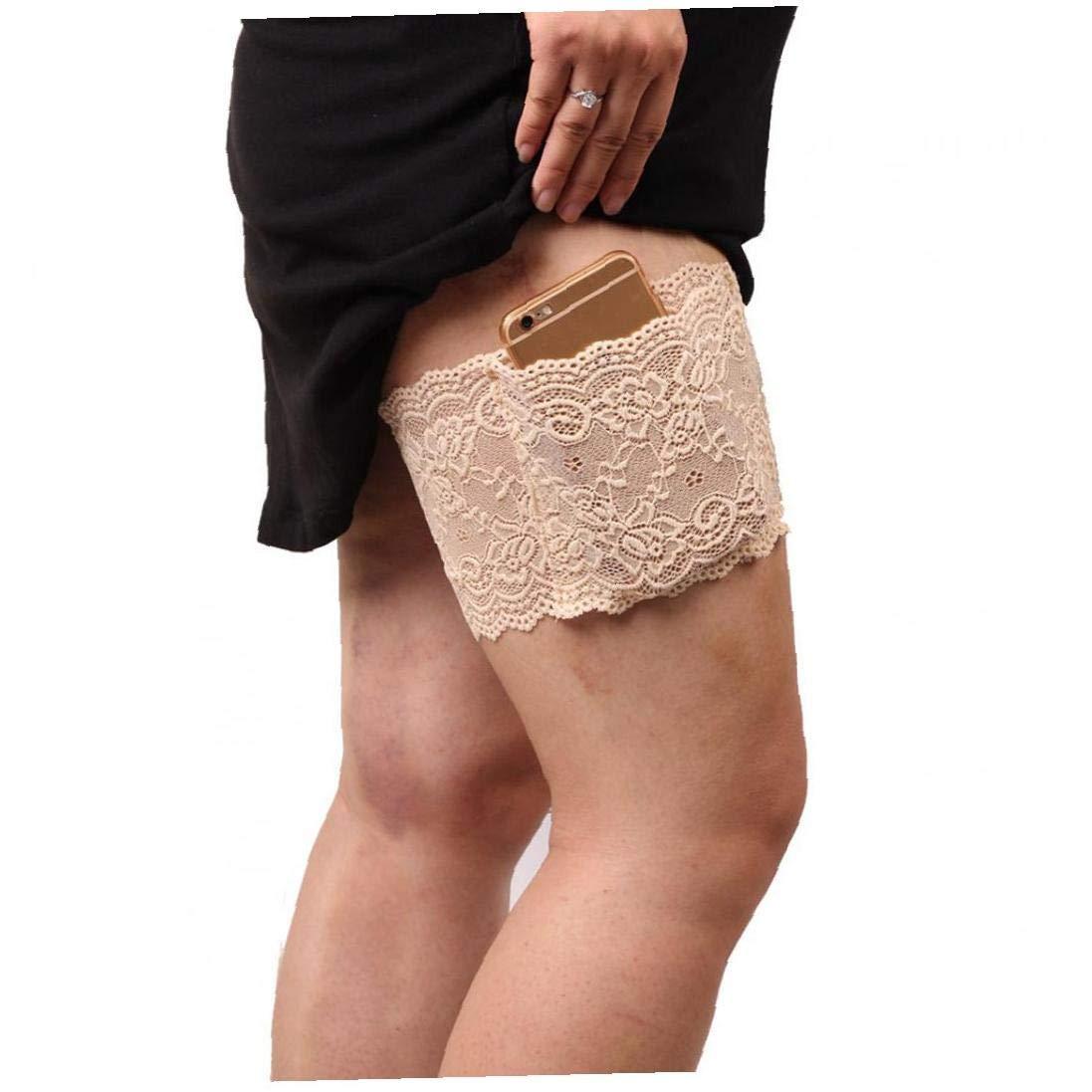 Las Mujeres con Cordones Antideslizante Muslo Liga Monedero Polainas De Seguridad con Bolsillos para Poner El Muslo M/óviles Prevenir Las Rozaduras L