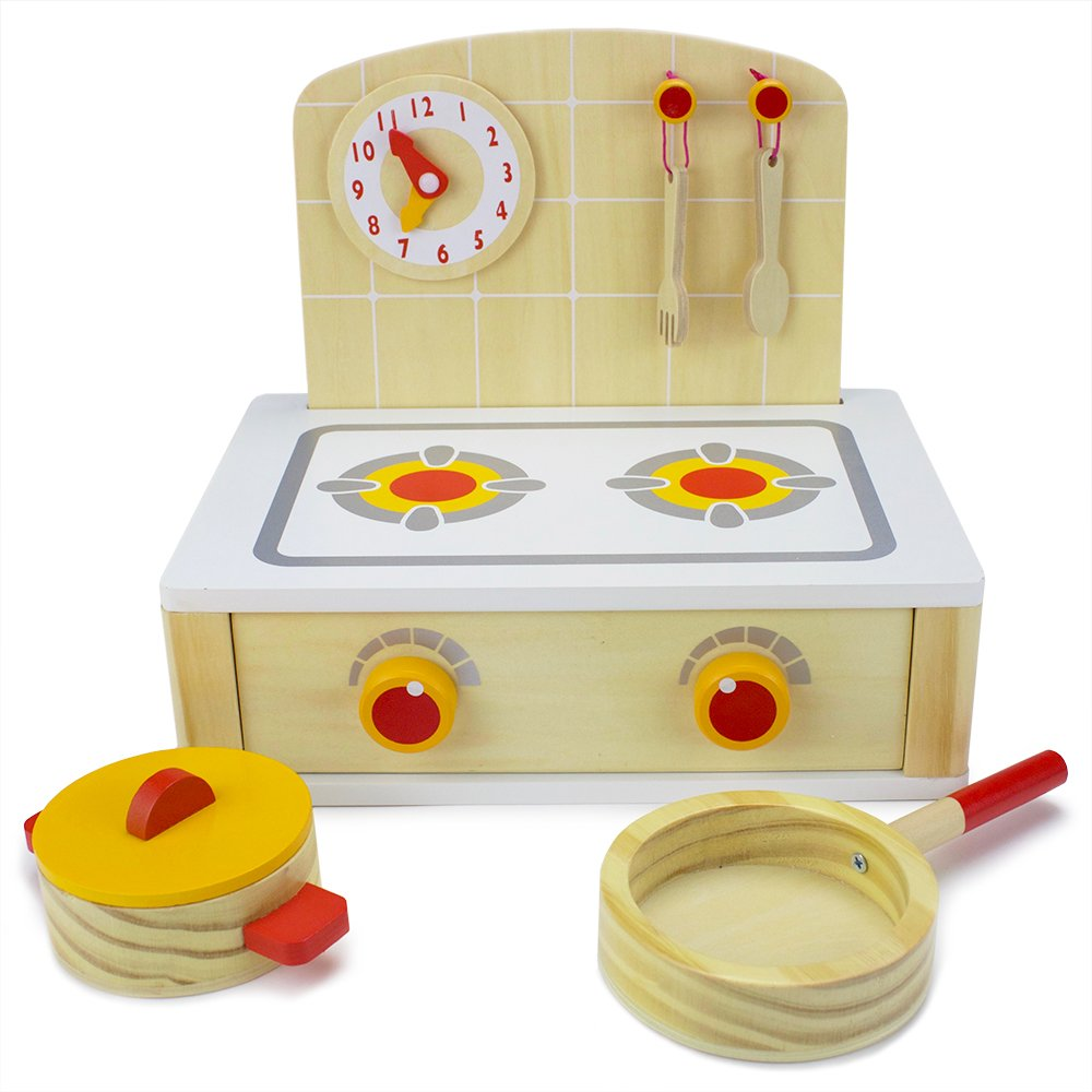 Imagination Generation Deluxe Wooden Cooktop and Oven Toy Kitchenette Set - Includes 6 Bonus Wooden Eggs!