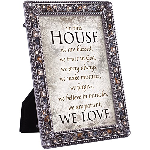 Cottage Garden in This House Trust Pray Love Jeweled Pewter Colored 5 x 7 Easel Back Photo Frame