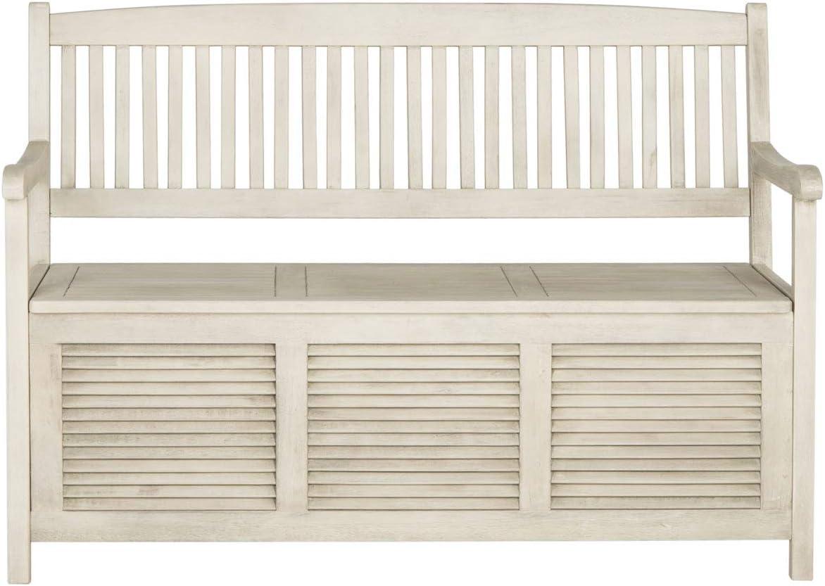 Amazon Com Safavieh Outdoor Collection Brisbane Grey Storage Bench Furniture Decor