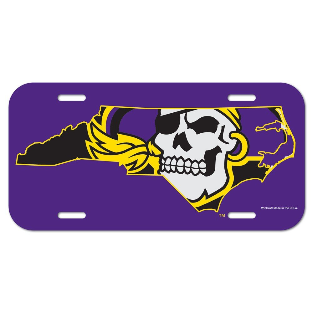 WinCraft East Carolina Pirates Official NCAA 12 inch x 6 inch Plastic License Plate by 851994