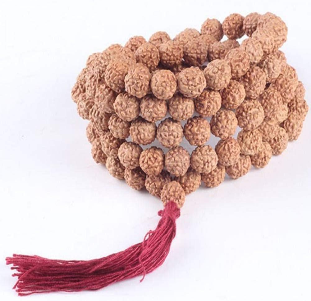 MLJSX Pulsera 8mm 108 Semillas Naturales de Bodhi Pulsera Brazalete de oración del Rosario Budista para el Collar de meditación