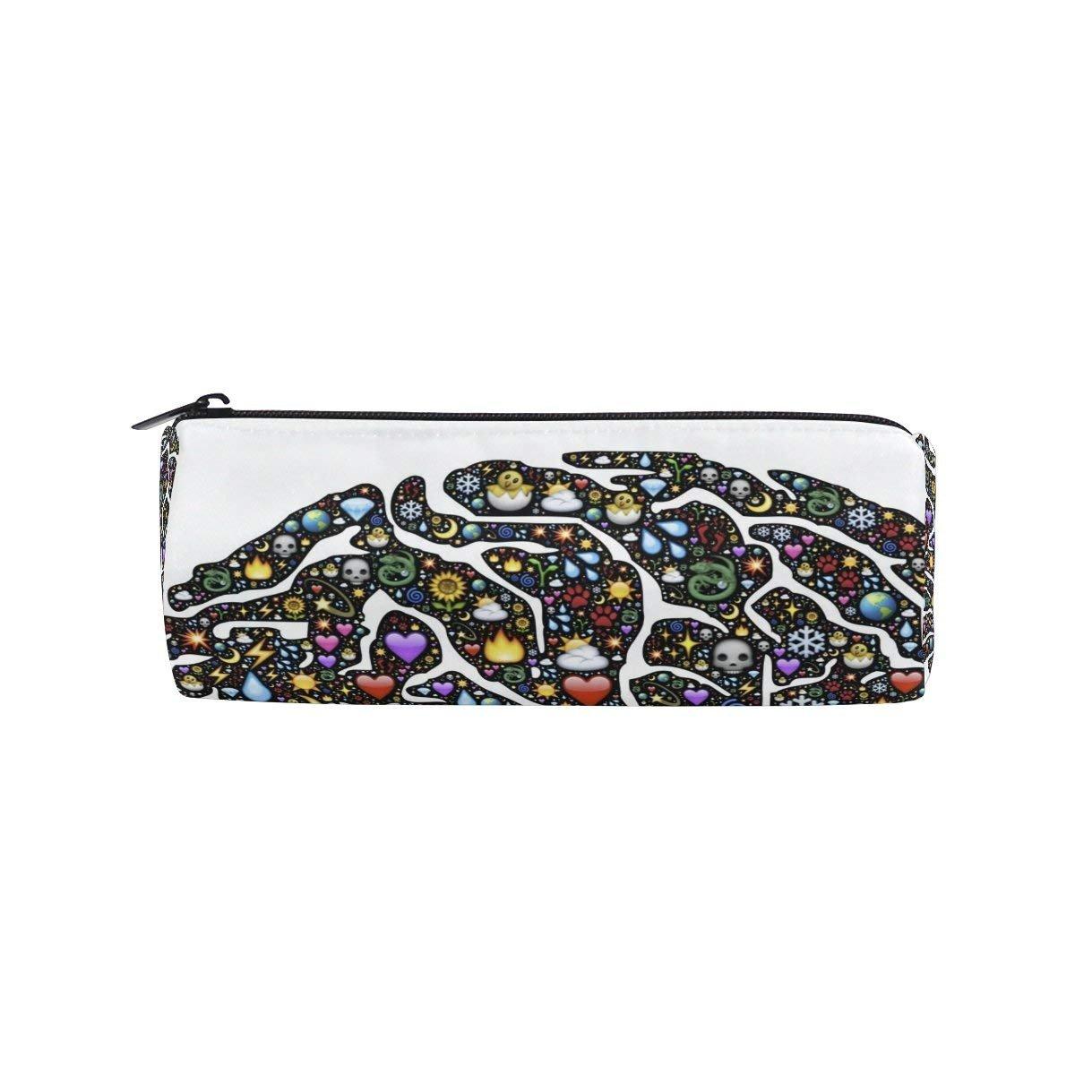 Unicorn Snow Glass Ball Round Pencil Case Stationery Bag Zipper Pouch Pencil Holder