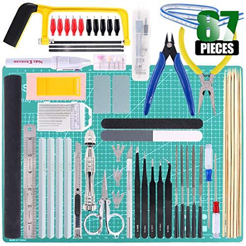 Keadic 87Pcs Modeler Basic Tools Craft Set Gundam Model Tools Kit with Plastic Box and Waterproof Bag for Gundam Car Model Building (Kit 10)