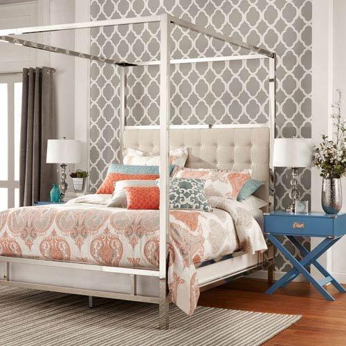 Homehills Adora White Glam Chrome Canopy Bed