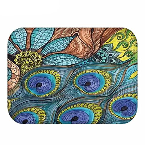 Finance Plan Coral Velvet Peacock Feather Mat Bath Rug Non-Slip Carpet Foot Pad 40x60cm - 19