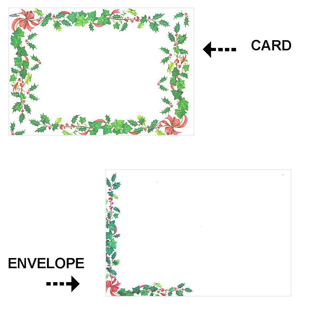 Holiday Stationary Cardz w/ Envelopes - Holly Leaves & Berries - 16 Pack