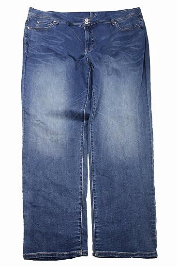 a7fa9d8aed21 INC Womens Denim Medium Wash Straight Leg Jeans Blue 24W  Amazon.ca ...