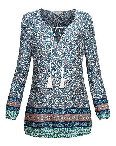 BAISHENGGT Mujer Blusa Top Camiseta con Estampado Azul N3