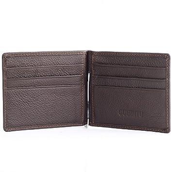 CADANIA Mens Leather Money Clip Slim Carteras ID de Empresa ...