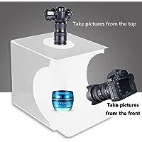 Mini Portable Photo Studio Shooting Tent,JHS-TECH Small Foldable LED Light Box Softbox Kit with 6 Colors Backdrops for Photography, Built-in 2pcs 6000K White LED Strips