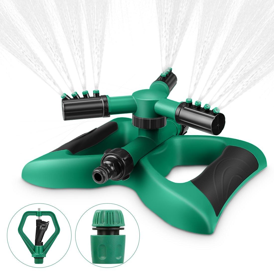 Magicfun Irrigatore Per Giardino,Irrigatore Rotante Sprinkler 360 °Rotante Spruzzatore A 3 Bracci A Lungo Raggio,Adatto per Prato, Giardino, Verde e Nero