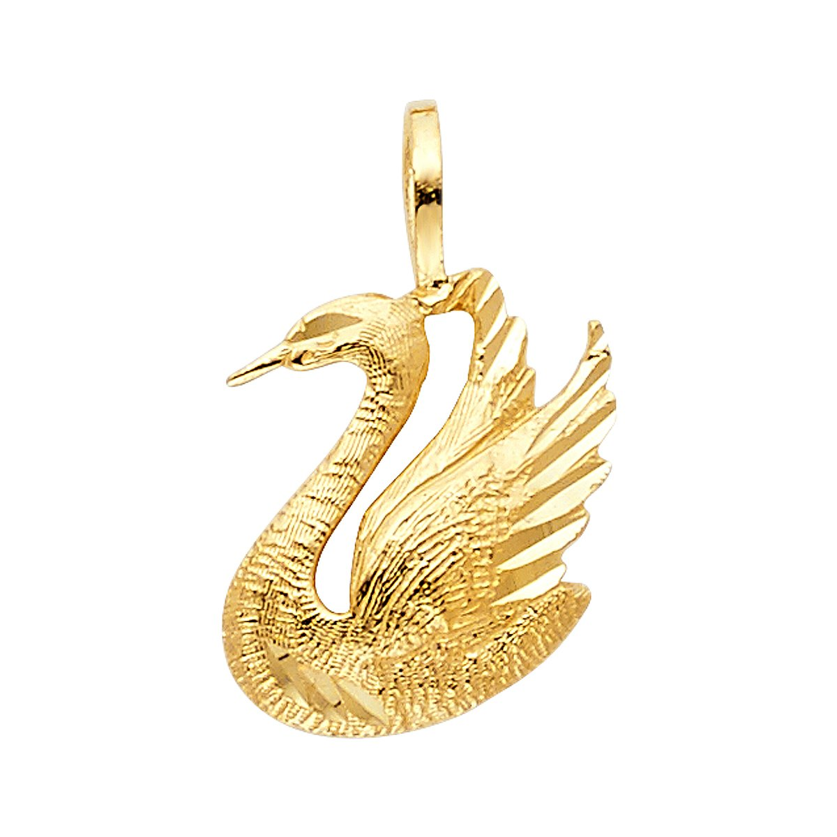 14K Yellow Gold Swan Pendant