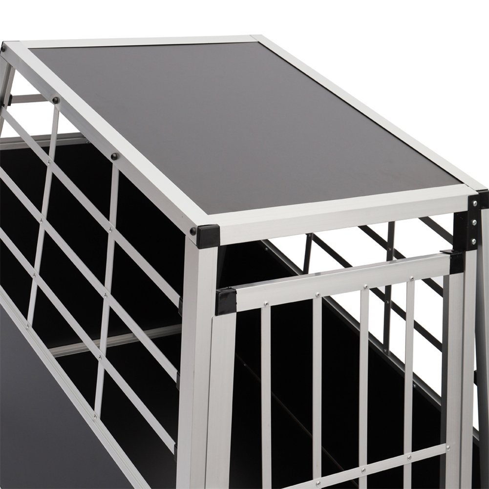 The Fellie Dog Crate 89X69X50CM Aluminum Dog Box for Transporting Large Dog Car Cage with Raked Back for Car Boot