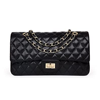 Ainifeel Women s Quilted Leather Shoulder Handbag With Chain Strap ... f48328968c78e
