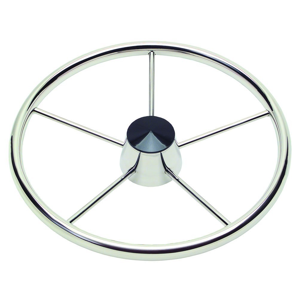 Ongaro 170 135'' Stainless 5-Spoke Destroyer Wheel w/ Black Cap and Standard Rim - Fits 3/4'' Tapered Shaft Helm