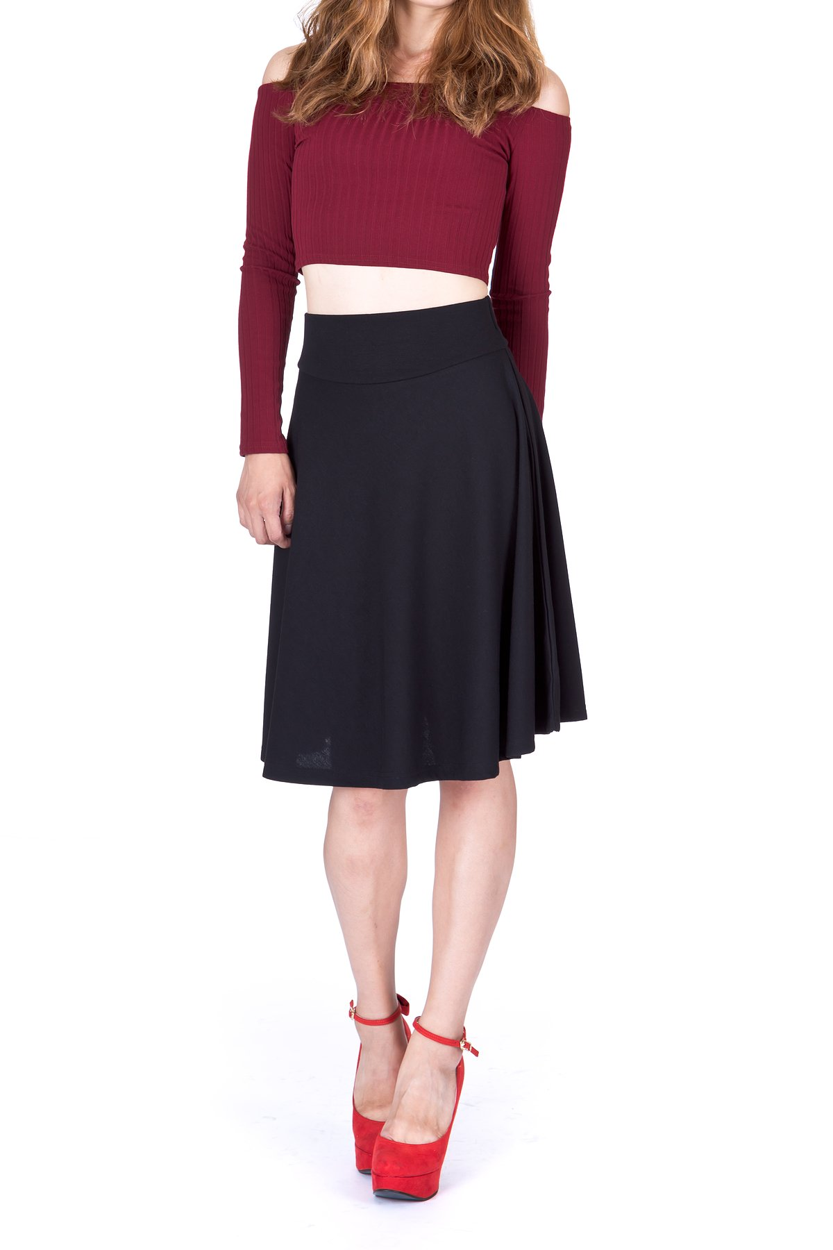 Impeccable Elastic High Waist A-line Full Flared Swing Skater Knee Length Skirt (M, Black) by Dani's Choice (Image #3)