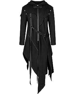 Punk Rave Womens Long Gothic Coat Jacket Black Trench Dieselpunk Dystopian LARP