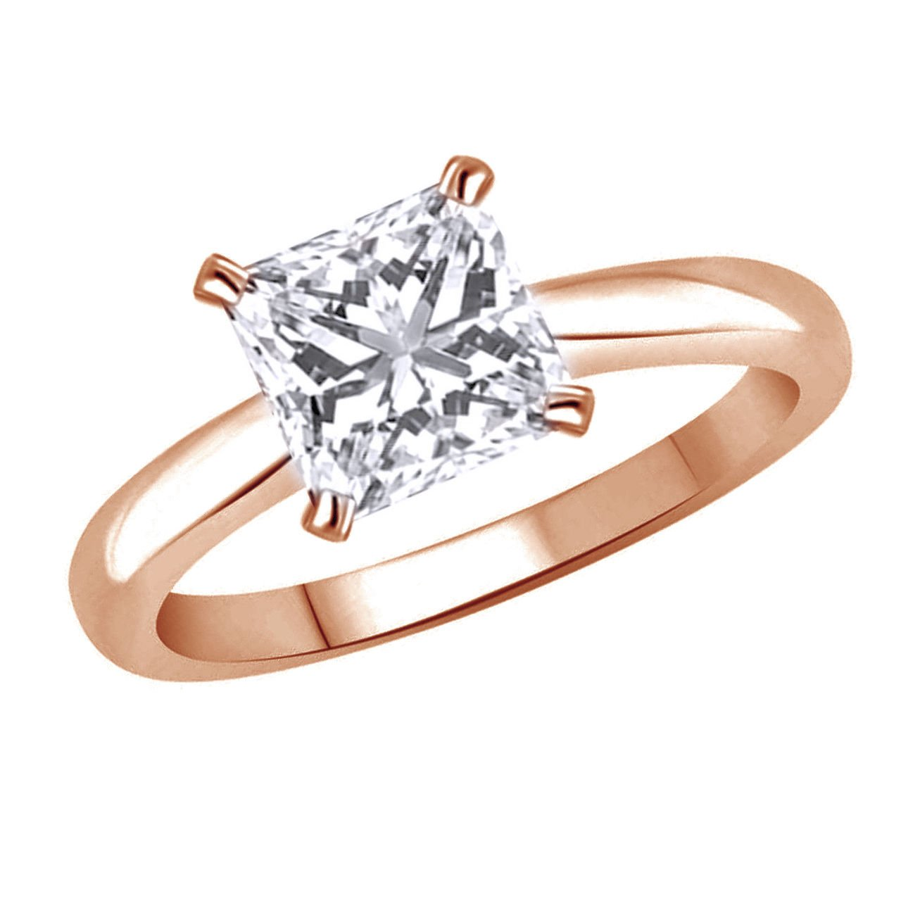 omegajewellery 10K Solid Gold Princess Simulated Diamond Solitaire Engagement Ring (1.50 Ct)