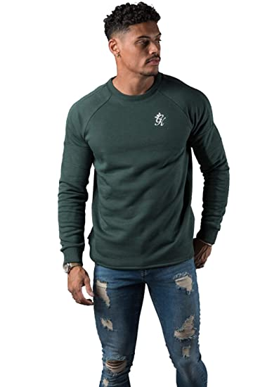 Gym King Mens Designer Core Plus Crew Neck Green Sweatshirt Jumper Sweater