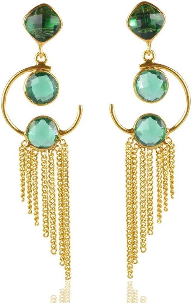 DV Jewels Green Onyx Round Gemstone Plated Earring