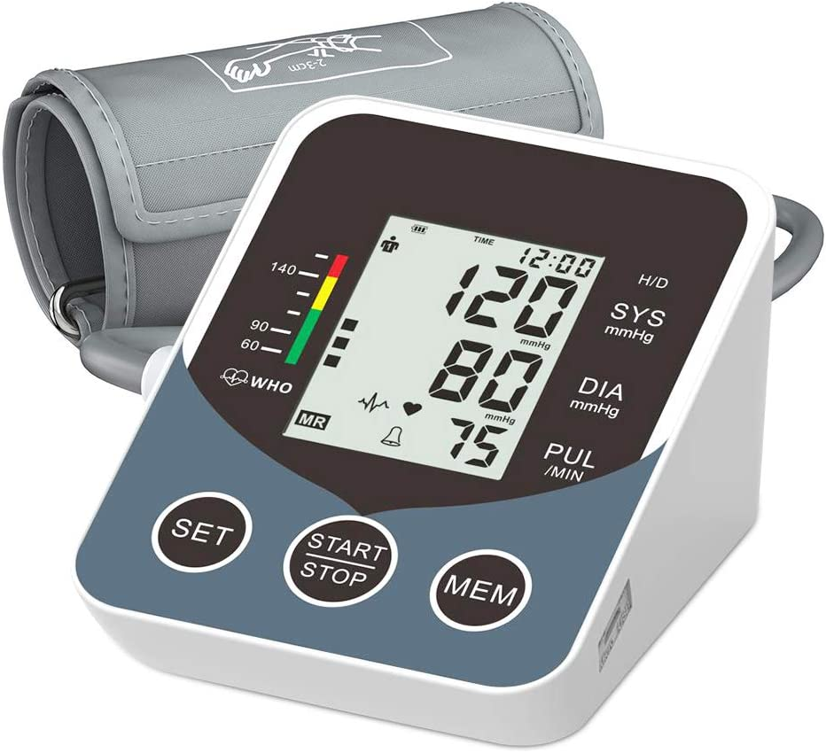 Blood Pressure Monitor, Inmorven Upper Arm Machine Digital BP Cuff Kit for Home Use, Automatic Pulse Rate Monitoring Meter with Large Display, 2×99 Sets Memory, Tubing and Device Bag