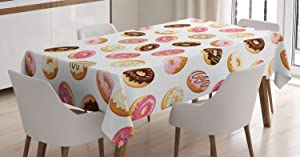 Ambesonne Food Tablecloth, American Traditional Classic Breakfast Fast Food Dessert Tasty Donuts Art Print, Rectangular Table Cover for Dining Room Kitchen Decor, 60