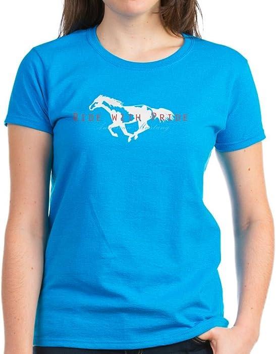 2d050c874 CafePress - Mustang Horse Women's Dark T-Shirt - Womens Cotton T-Shirt  Caribbean