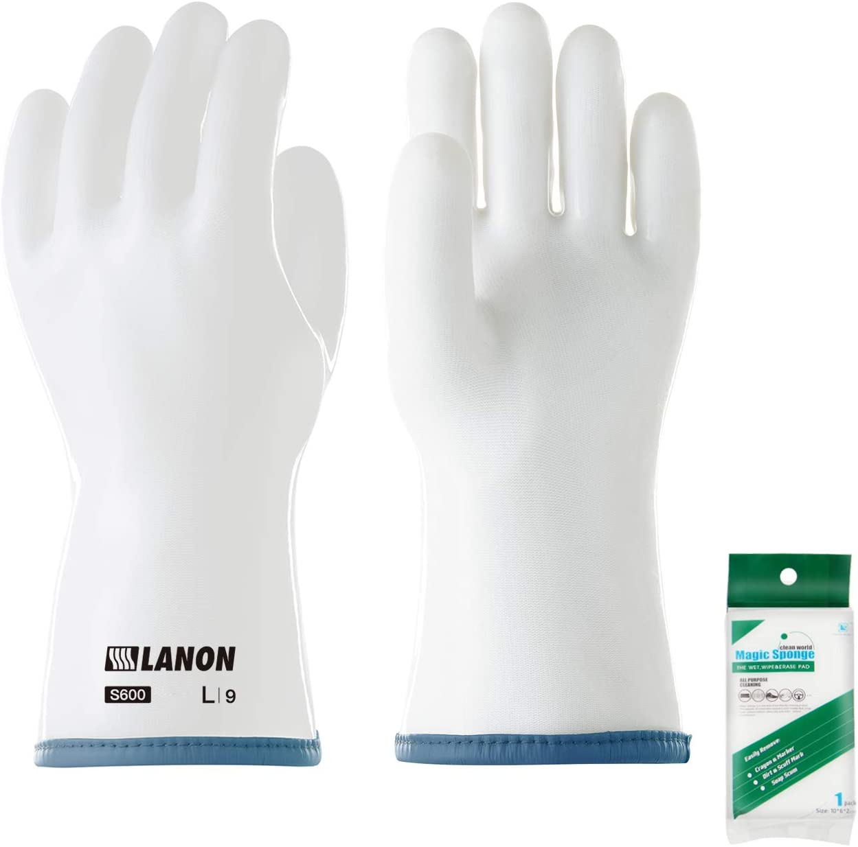 LANON Protection Heat Resistant Oven Mitts with Fingers for Barbecue, Baking, Food Frying, Liquid Silicone Grill Glove, BPA Free Bonus Cleaning Sponge, Medium