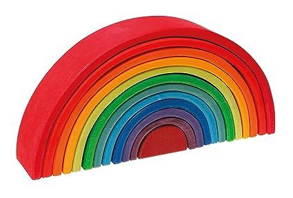 amazon com grimm s large 12 piece rainbow stacker wooden nesting