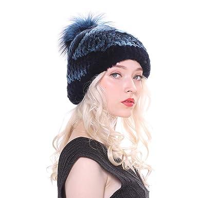 URSFUR Femmes Réel Fourrure de Lapin Bonnet Chapeau d hiver Tricot Bobble  Casquette avec Renard 6326e462d3d