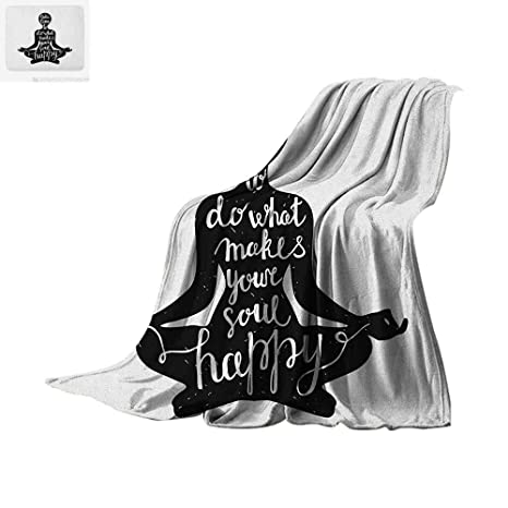 Amazon.com: Yoga Lightweight Blanket Black Silhouette with ...