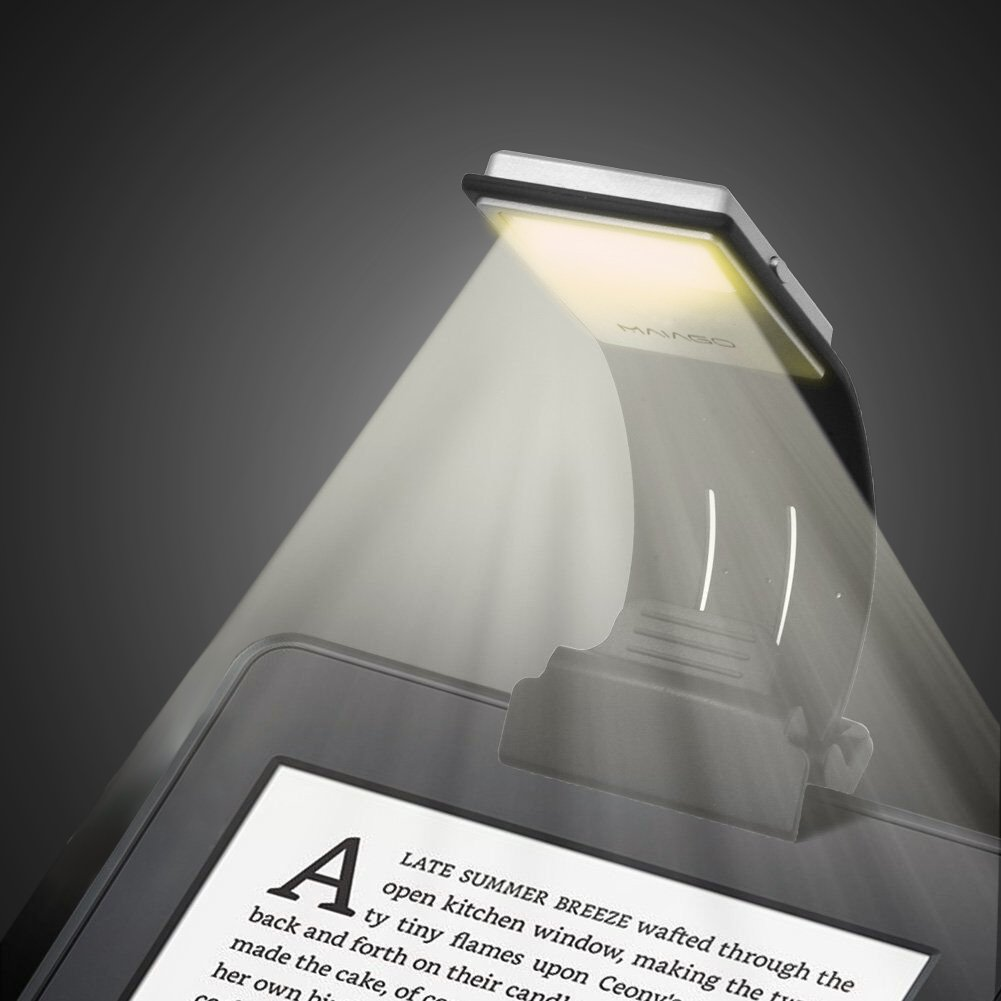 MAIAGO Book Light, 3000K Warm LED Reading Light, USB Rechargeable with Eye Care 4-Level Adjustable Brightness Flexible Reading Lamp, Clip On for Kindle, Book, ipad and Reading in Bed (Black)