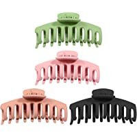 Questa life 4pcs Big Hair Claw Clips Matte Jaw Clips Large Grip Hair Clips Anti Slip Barrette Clamps Ponytail Holder for…