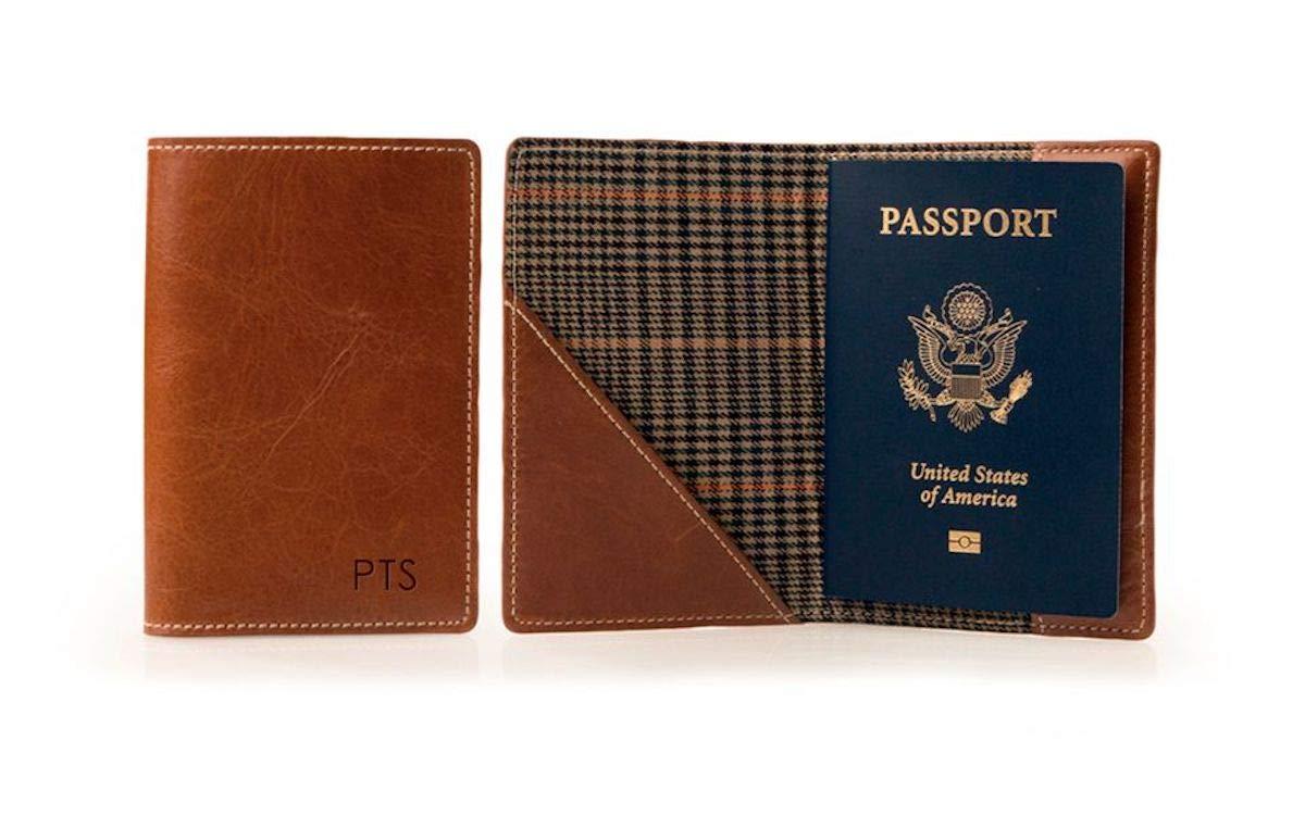 British Tan Barrington Florentine Leather Glasgow Passport Case