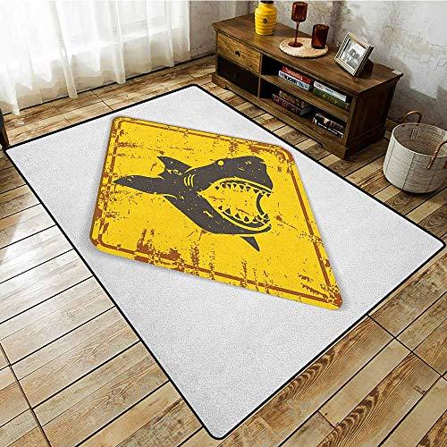 (Collection Area Rug,Shark,Caution Shark Sign Sharp Teeth Animal Ocean Danger Do Not Swim Illustration,Ideal Gift for Children,3'11