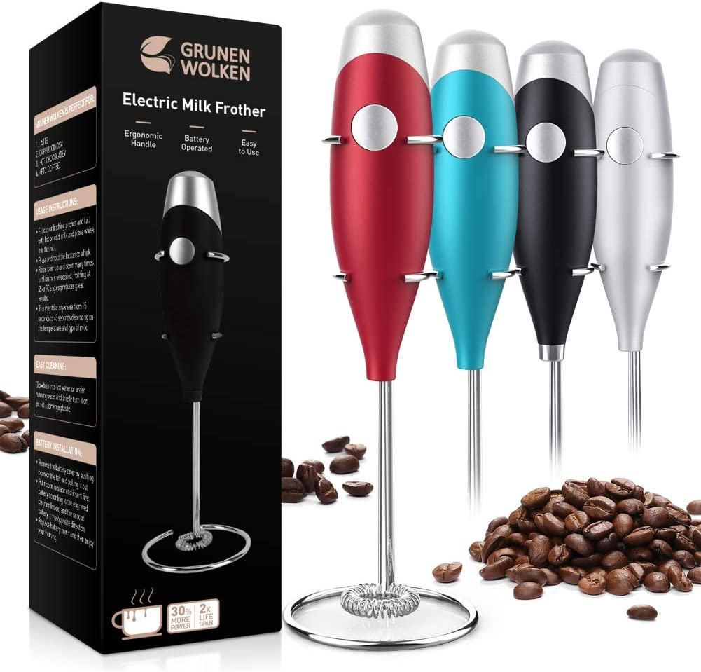 GRUNEN WOLKEN Milk Frother Handheld Get Froth in 7 Seconds High Powered Low Noise with Support Stand and Coffee Stencils Electric Coffee Mixer Perfect for Coffee Cappuccino Matcha Hot Chocolate