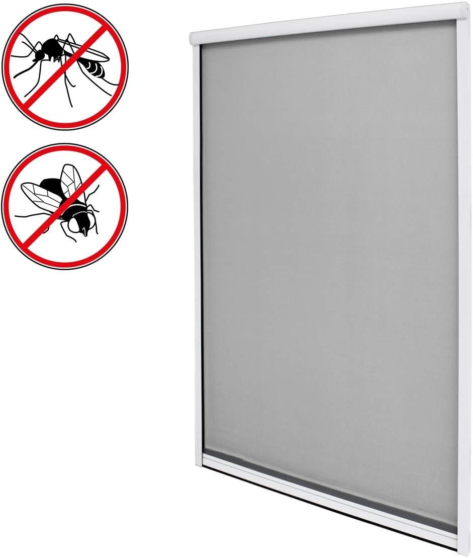 R/ésistant aux Intemp/éries Blanc ECD Germany Moustiquaire Store Pliss/é Enrouleur pour Fen/être 100 x 160 cm Fibre de Verre Protection Contre Insectes Enroulable