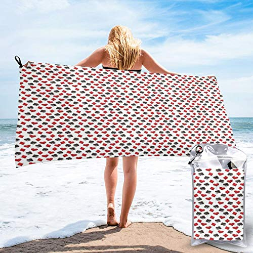 K0k2to Fast Drying Beach Travel Camping Towel,Abstract Symbols of Poker Hearts Spades Diamonds Clubs with Ornamental Swirls,Quick Dry Lightweight Bath - Spades Poker Diamonds Hearts Clubs