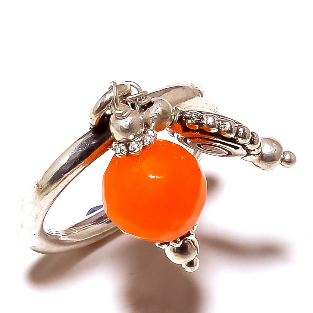 Orange Plan Bead Sterling Silver Overlay Ring Size 8.5 US Best Gift Handmade Jewelry