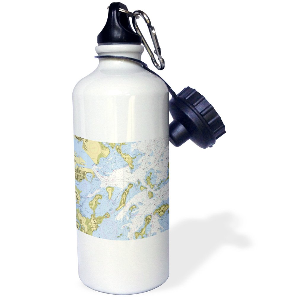 wb/_204856/_1 21 oz Multicolor 21oz 3dRose Print of Boston Harbor Nautical Chart-Sports Water Bottle