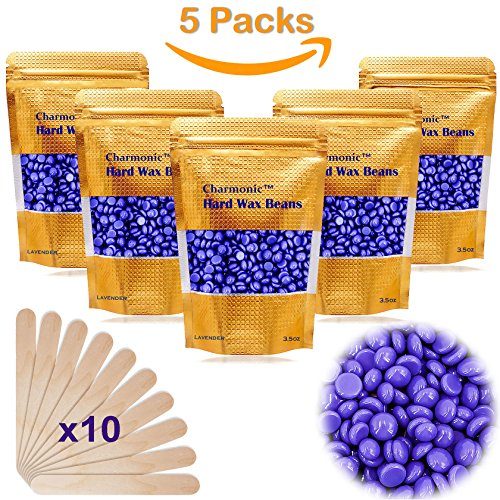 Price comparison product image 17.5 Oz Hair Wax Beans by Charmonic, Hard Body Wax Beans, Hair Removal Depilatory Wax European Beads for Women Men 500g/17.5Oz Lavender