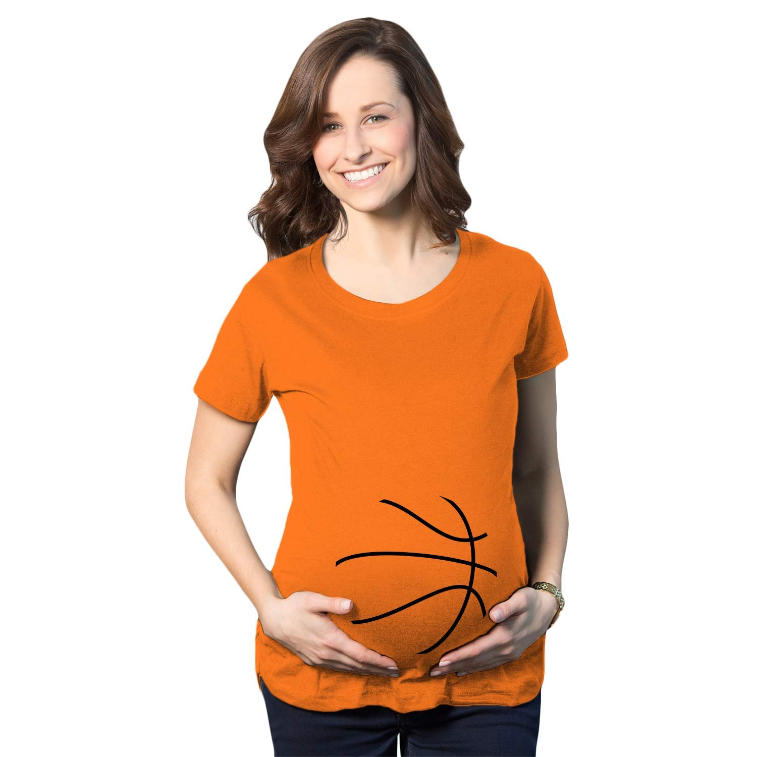 Maternity Basketball Bump Announcement Funny Pregnancy Gift Tee for Ladies Crazy Dog Tshirts