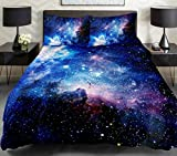 Galaxy Quilt Cover Galaxy Duvet Cover Galaxy Sheet Space Sheet Outer Space Bedding Set Bedspread cover with 2 Matching Pillow Covers(Full)