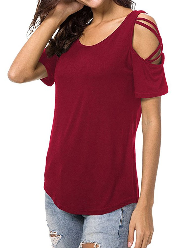 Azuki Lady's 2018 Summer Fashion Basic Solid Color T Shirt Cold Shoulder Elong Longline Blouse Wine Red S