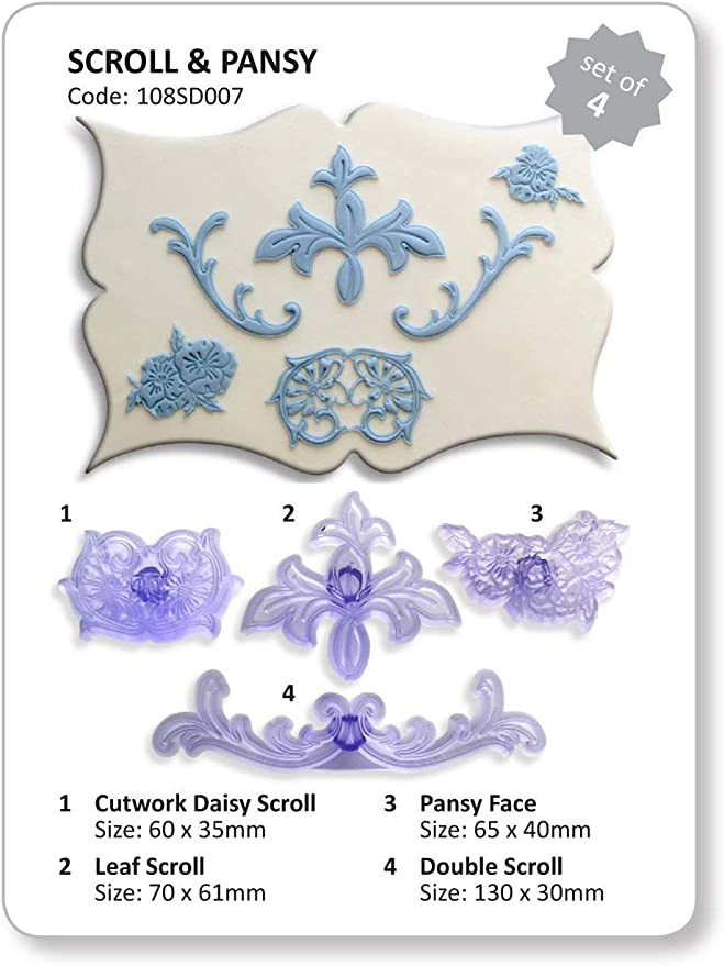 JEM 2 Set Ribbon Cutters SCROLL /& LEAF Border Design Icing Sugarcraft Cake Decor