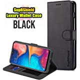 for Samsung Galaxy A20 LC IMEEKE Luxury Wallet Leather Card Holder Flip PU Magnetic Protective Heavy Duty Gel Shockproof Case Cover (Black)