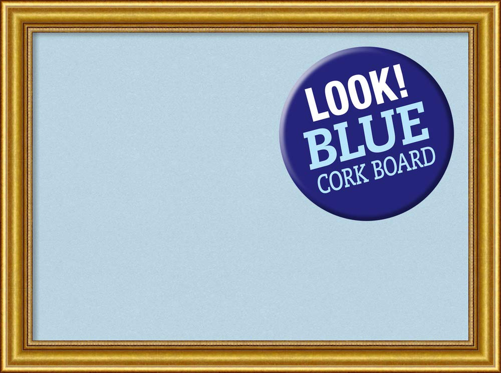 Amanti Art Outer Size 32 x 24 Framed Blue Cork Board Large, Townhouse Gold