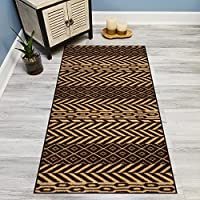 Your Choice Length Brown & Beige Traditional Kilim Non-Slip Rubber Backed Carpet Runner Rug | 22-inch x 6-feet